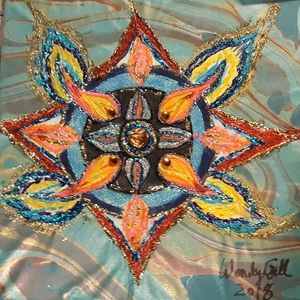 Wendy Gell Art glittery mandala on canvas colorful